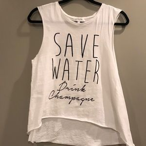 Tops - Save Water, Drink Champagne Cut-off Tank